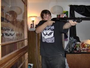 Yeah, he owns a gun.
