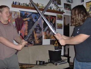 He battles (using a self-taught style of martial arts)